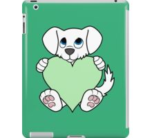 Valentine's Day White Dog with Light Green Heart iPad Case/Skin