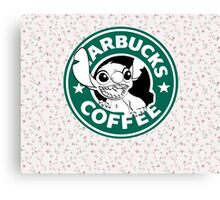 Stitch Floral Coffee Canvas Print