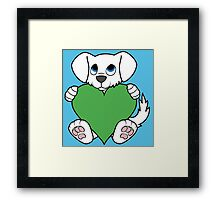 Valentine's Day White Dog with Green Heart Framed Print