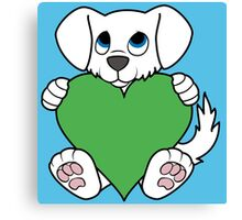Valentine's Day White Dog with Green Heart Canvas Print