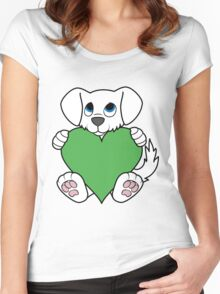 Valentine's Day White Dog with Green Heart Women's Fitted Scoop T-Shirt