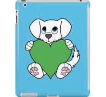 Valentine's Day White Dog with Green Heart iPad Case/Skin
