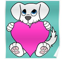 Valentine's Day White Dog with Pink Heart Poster