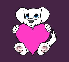 Valentine's Day White Dog with Pink Heart Unisex T-Shirt