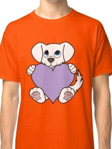 Valentine's Day White Dog with Light Purple Heart Classic T-Shirt