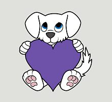 Valentine's Day White Dog with Purple Heart Unisex T-Shirt