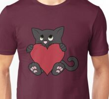 Valentine's Day Black Cat with Red Heart Unisex T-Shirt