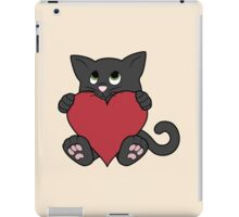 Valentine's Day Black Cat with Red Heart iPad Case/Skin