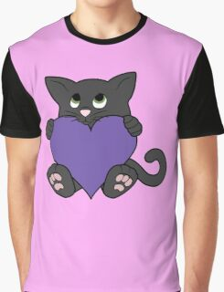 Valentine's Day Black Cat with Purple Heart Graphic T-Shirt