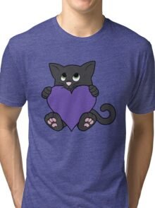 Valentine's Day Black Cat with Purple Heart Tri-blend T-Shirt