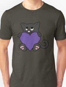 Valentine's Day Black Cat with Purple Heart Unisex T-Shirt