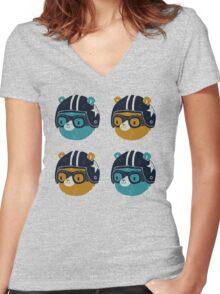 racer bear Women's Fitted V-Neck T-Shirt