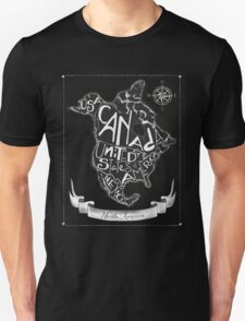 North American map, chalkboard art, travel, black, white T-Shirt