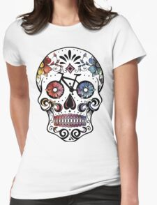 Sugar skull bikes watercolor Womens Fitted T-Shirt