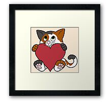 Valentine's Day Calico Cat with Red Heart Framed Print