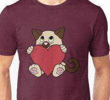 Valentine's Day Siamese Cat with Red Heart Unisex T-Shirt