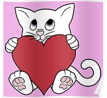 Valentine's Day White Cat with Red Heart Poster