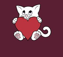 Valentine's Day White Cat with Red Heart Unisex T-Shirt