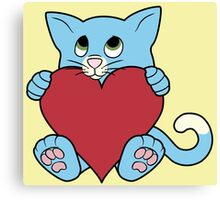 Valentine's Day Blue Cat with Red Heart Canvas Print