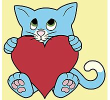Valentine's Day Blue Cat with Red Heart Photographic Print