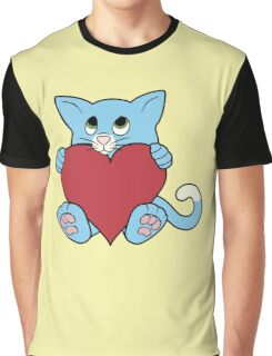 Valentine's Day Blue Cat with Red Heart Graphic T-Shirt