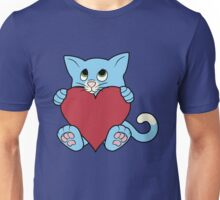 Valentine's Day Blue Cat with Red Heart Unisex T-Shirt