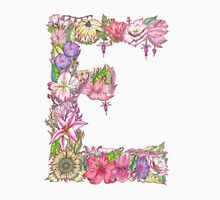Floral Letter E Unisex T-Shirt
