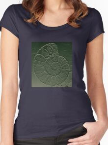 Ammonite Fossil Dark Grey Green Women's Fitted Scoop T-Shirt