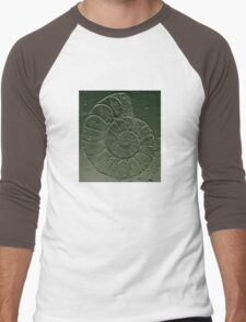 Ammonite Fossil Dark Grey Green Men's Baseball ¾ T-Shirt