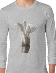White Duck Flapping Wings on Water Vector Long Sleeve T-Shirt