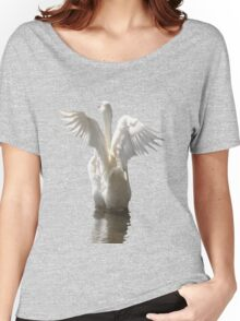 White Duck Flapping Wings on Water Vector Women's Relaxed Fit T-Shirt