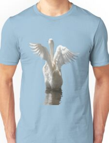 White Duck Flapping Wings on Water Vector Unisex T-Shirt