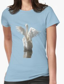 White Duck Flapping Wings on Water Vector Womens Fitted T-Shirt