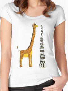 Who is Taller Unicorn Giraffe or Penguin? Women's Fitted Scoop T-Shirt