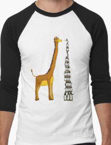 Who is Taller Unicorn Giraffe or Penguin? Men's Baseball ¾ T-Shirt