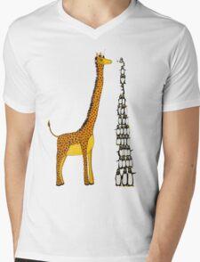 Who is Taller Unicorn Giraffe or Penguin? Mens V-Neck T-Shirt