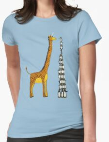 Who is Taller Unicorn Giraffe or Penguin? Womens Fitted T-Shirt