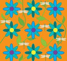 Flower and Dragonfly Graphic Design Orange by BelindaGreb