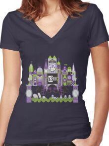 Is This Small World Actually Stretching? (for Darker Rides) Women's Fitted V-Neck T-Shirt