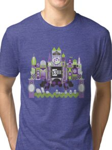 Is This Small World Actually Stretching? (for Darker Rides) Tri-blend T-Shirt