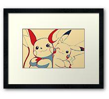 Raichu and Pikachu Framed Print