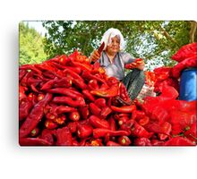 Turkish Woman Preparing Red Peppers for Biber Salçası Canvas Print