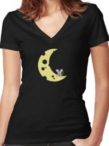 mouse on the cheese moon  Women's Fitted V-Neck T-Shirt