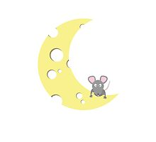 mouse on the cheese moon  by ilovecotton