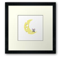 mouse on the cheese moon  Framed Print