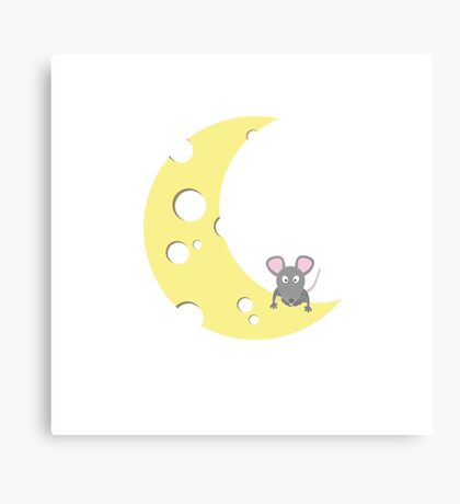 mouse on the cheese moon  Canvas Print