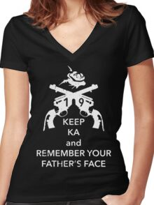 Keep KA - white edition Women's Fitted V-Neck T-Shirt