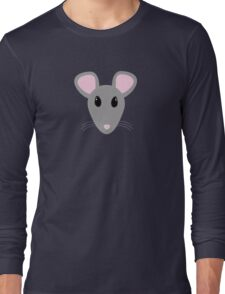 sweet gray mouse face  Long Sleeve T-Shirt