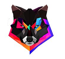 colorful wolf art Photographic Print