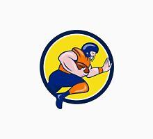 American Football Running Back Charging Circle Cartoon Unisex T-Shirt